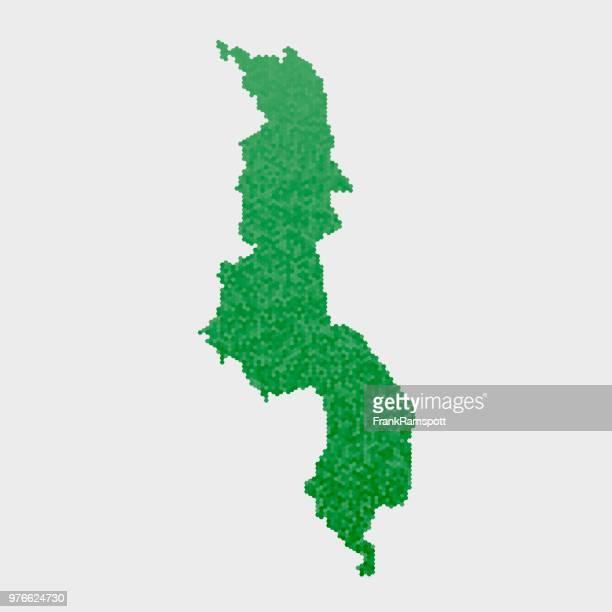 Malawi-Land-Map-grünen Sechseck-Muster