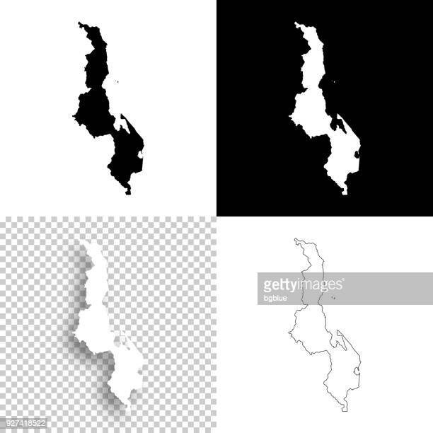 malawi maps for design - blank, white and black backgrounds - malawi stock illustrations