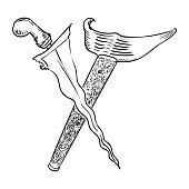 Malay Dagger or Keris Hand drawn Vector