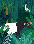 Malayan Tapirl in jungle. Vector illustration