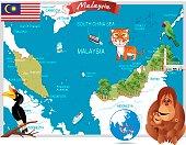 Malaysia cartoon map