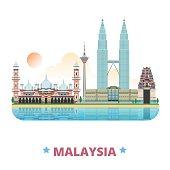 Malaysia country design template. Flat cartoon style historic sight web vector illustration. World travel Asia collection. Petronas Twin Sri Mahamariamman Hindu Temple Jamek Mosque Kuala Lumpur Tower.