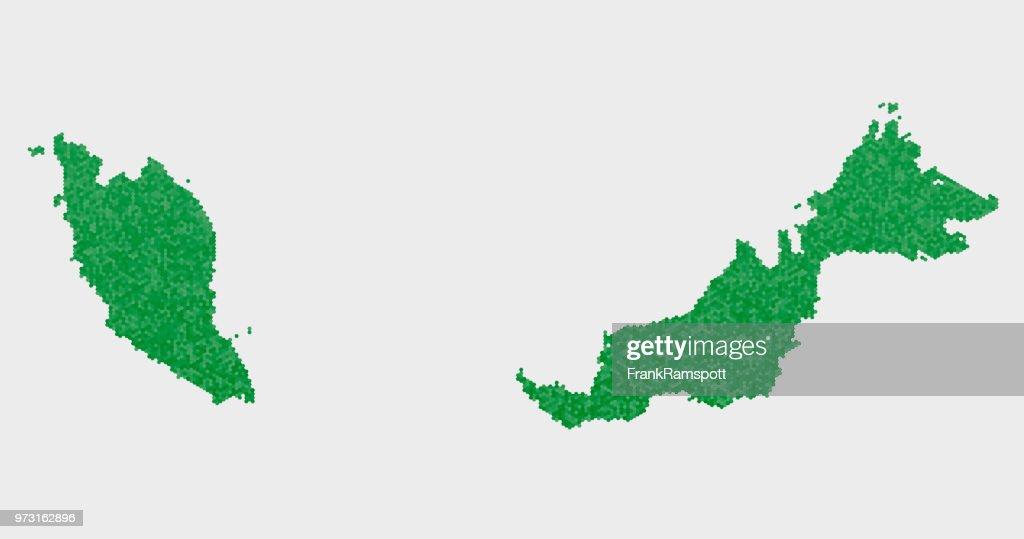 Malaysia Land Map grünen Sechseck-Muster : Vektorgrafik