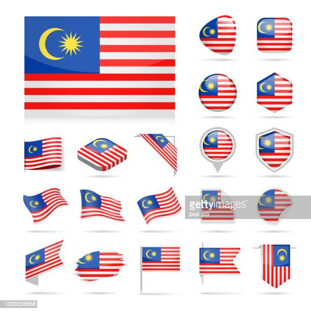 illustrations, cliparts, dessins animés et icônes de malaisie - flag icon set vector brillant - kuala lumpur