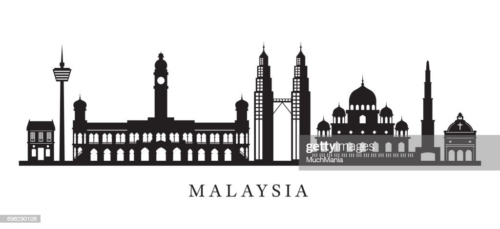 Malaysia Landmarks Skyline in Black and White Silhouette