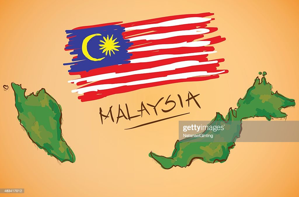 Malaysia Map and National Flag Vector