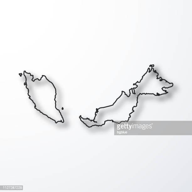 Malaysia map - Black outline with shadow on white background