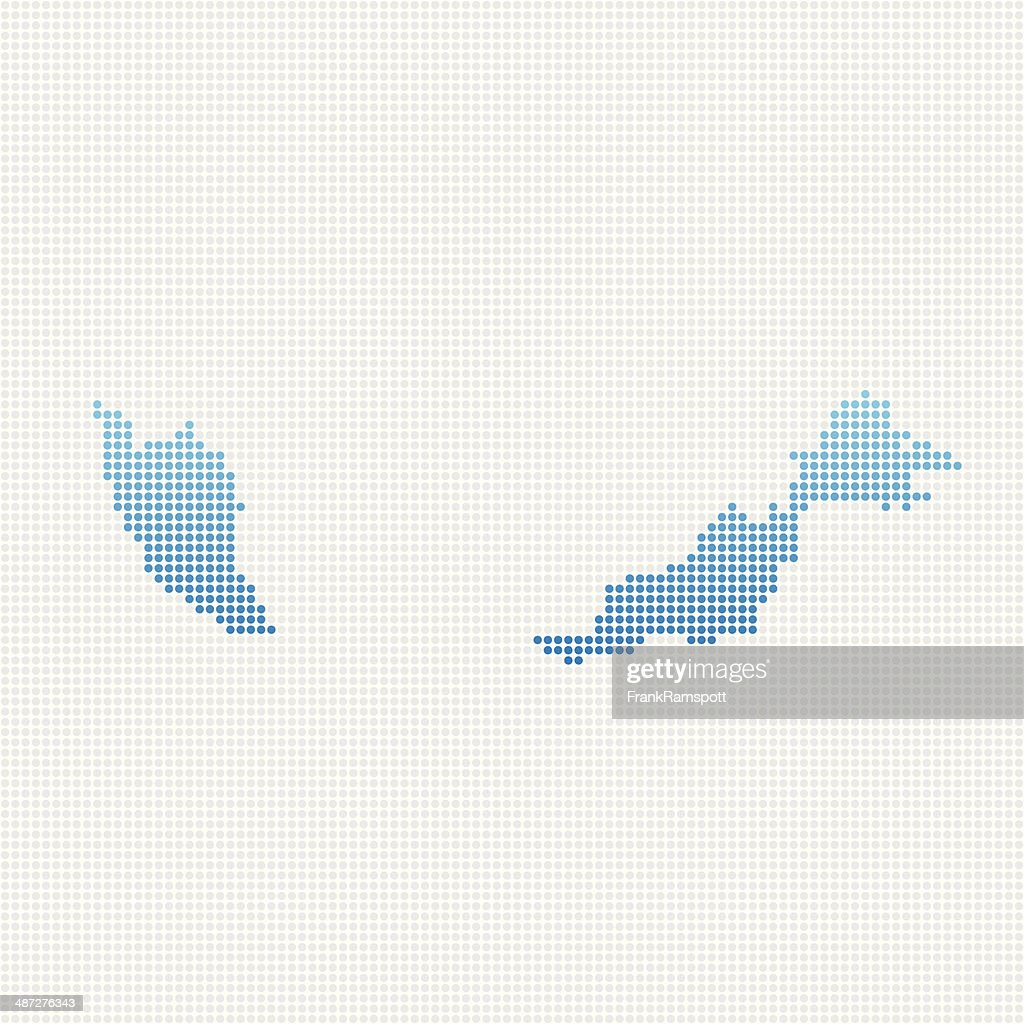 Malaysia Map Blue Dot Pattern : Stock Illustration