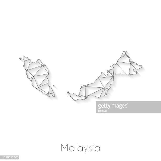 ilustrações, clipart, desenhos animados e ícones de conexão do mapa de malaysia-engranzamento da rede no fundo branco - malásia