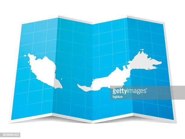 Malaysia Map folded, isolated on white Background