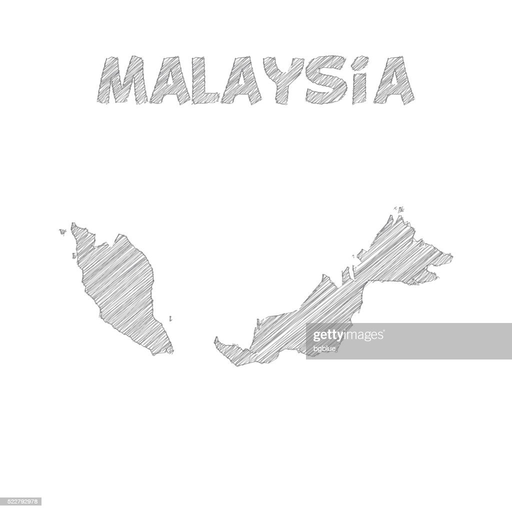 Malaysia map hand drawn on white background