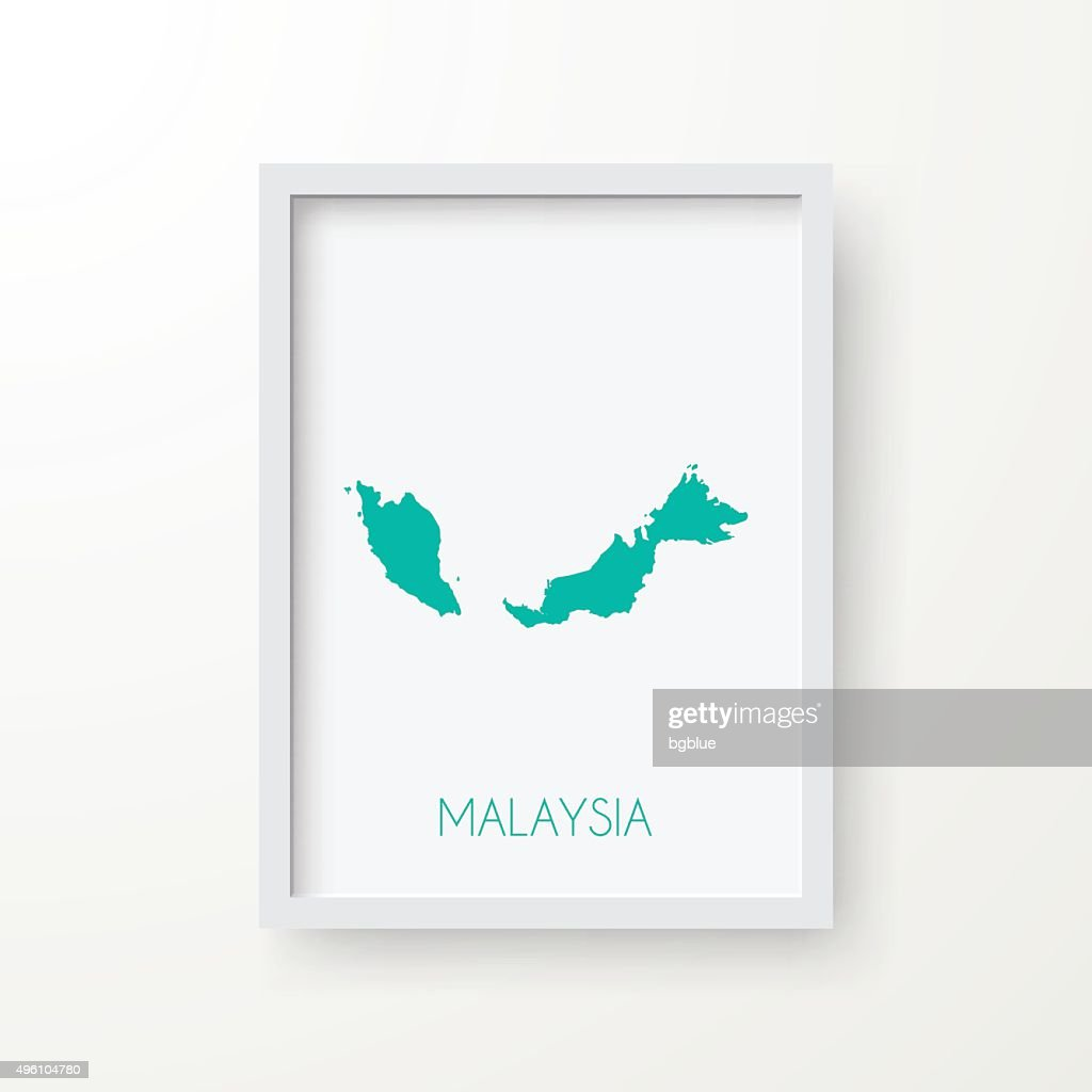 Malaysia Map in Frame on White Background