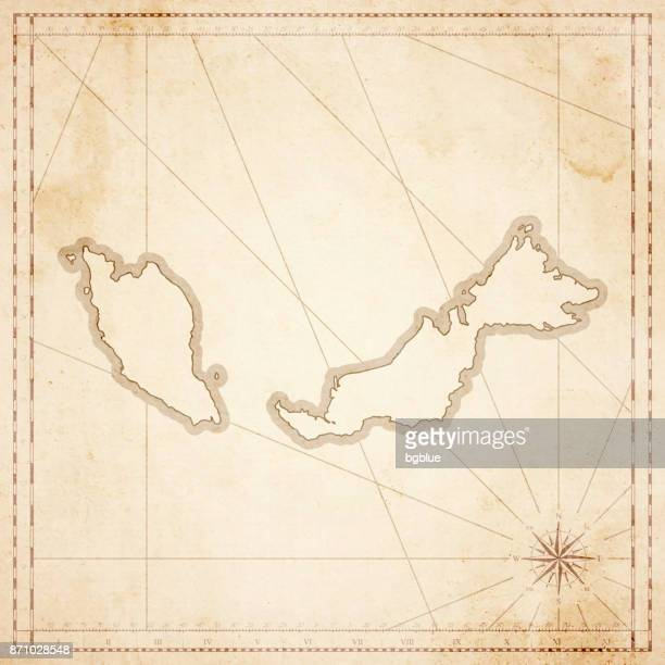 ilustrações, clipart, desenhos animados e ícones de mapa da malásia em estilo vintage retrô - velho papel texturizado - malásia