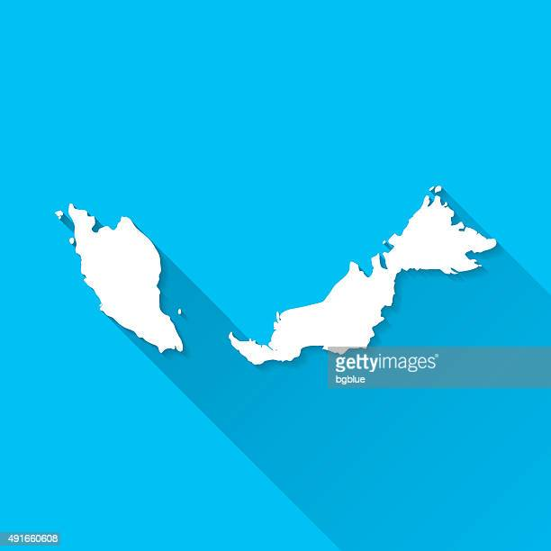 Malaysia Map on Blue Background, Long Shadow, Flat Design