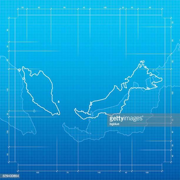 Malaysien Karte auf Bauplan-Hintergrund