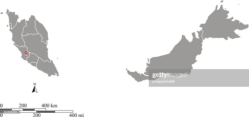 Malaysia map outline vector with scales of miles and kilometers