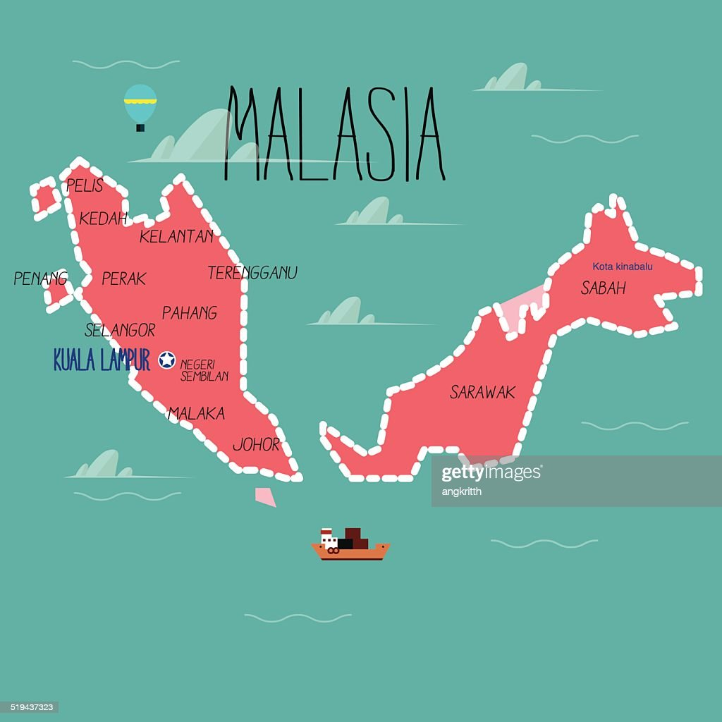 Malaysia map - vector illustration