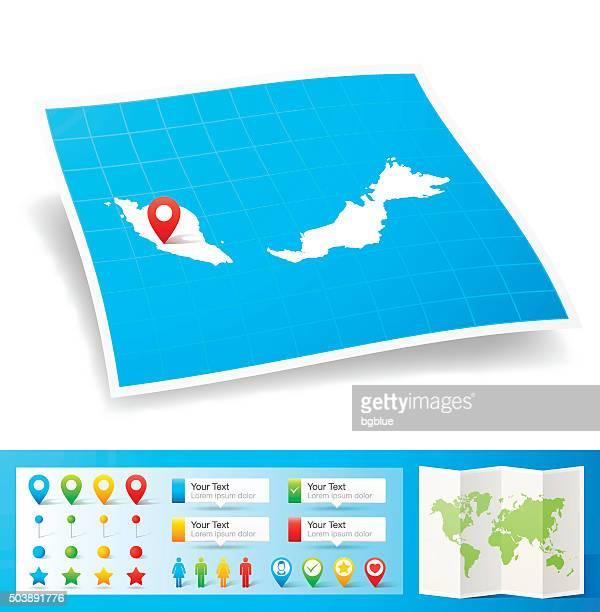 Malaysia Karte mit Lage pins, isoliert auf weißem Hintergrund