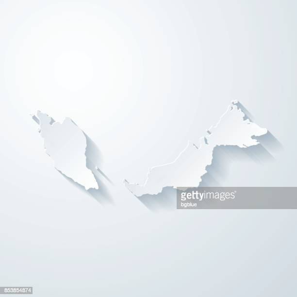 Malaysia map with paper cut effect on blank background