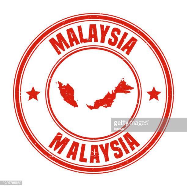 illustrations, cliparts, dessins animés et icônes de malaisie - timbre en caoutchouc rouge grunge avec nom et carte - kuala lumpur