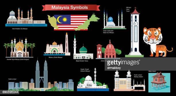 malaysia symbols - malaysia stock illustrations