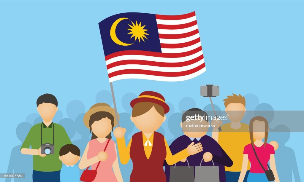 malaysia tourists and tour guide, Inbound tourism, vector illustration