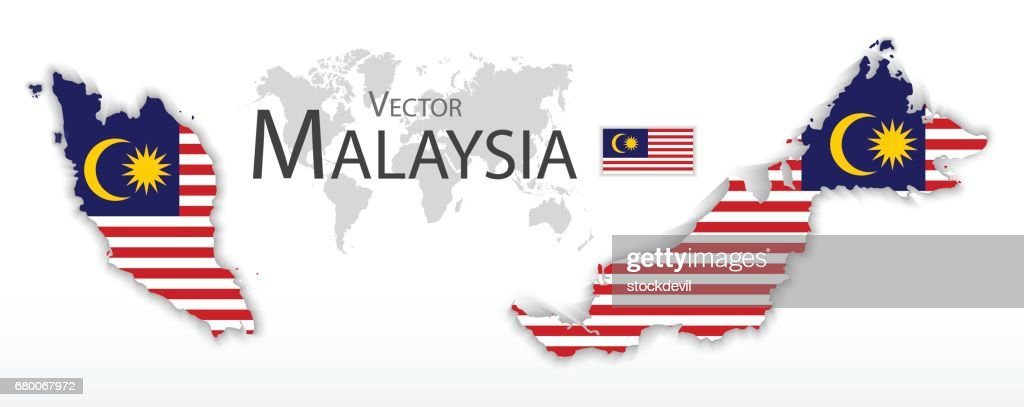 Malaysia ( Federation of Malaysia )( flag and map )( transportation and tourism concept )