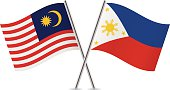 Malaysian and Philippines flags. Vector.
