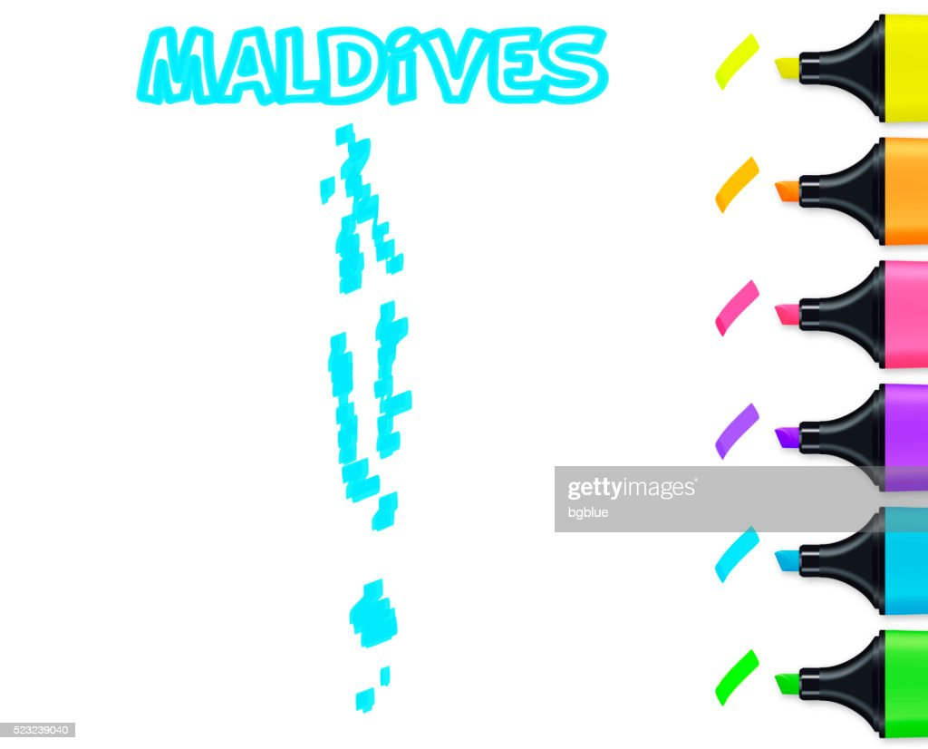 Maldives Map Hand Drawn On White Background Blue Highlighter stock ...
