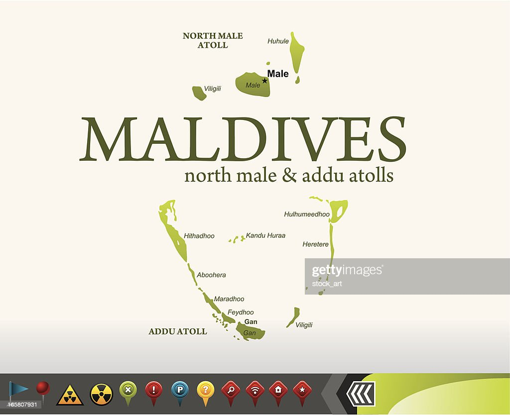Maldives Map With Navigation Icons Vector Art | Getty Images