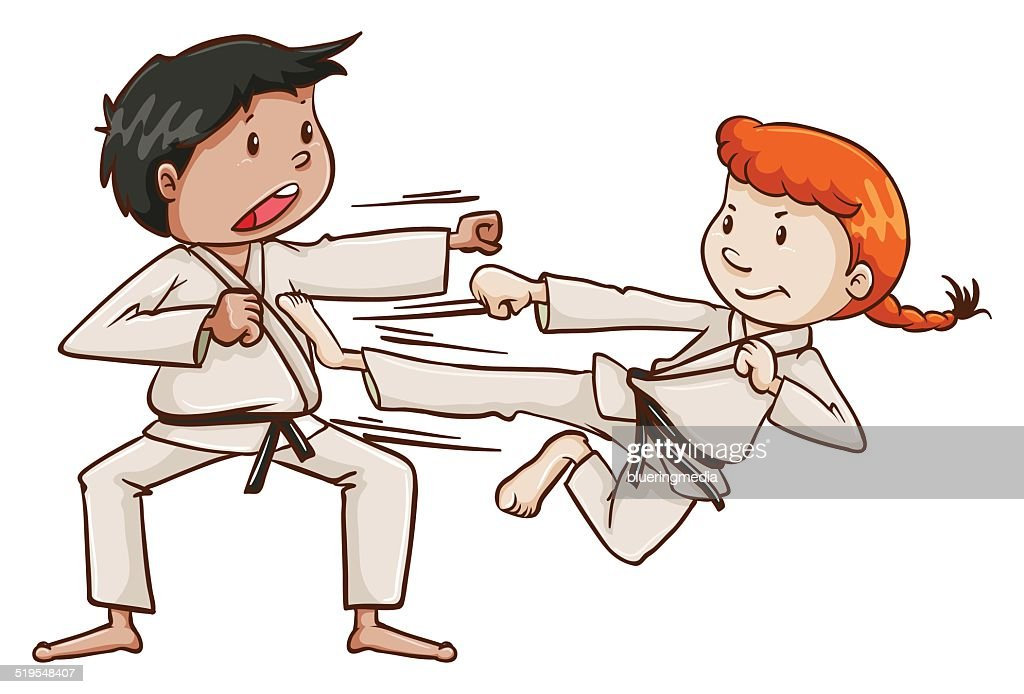 Male and a female doing martial arts