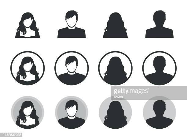 male and female avatar silhouette icons. - females stock illustrations