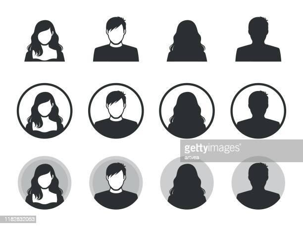 ilustraciones, imágenes clip art, dibujos animados e iconos de stock de iconos de silueta de avatar masculino y femenino. - avatar