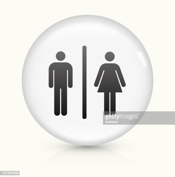 male and female bathroom icon on white round vector button - bathroom stock illustrations, clip art, cartoons, & icons