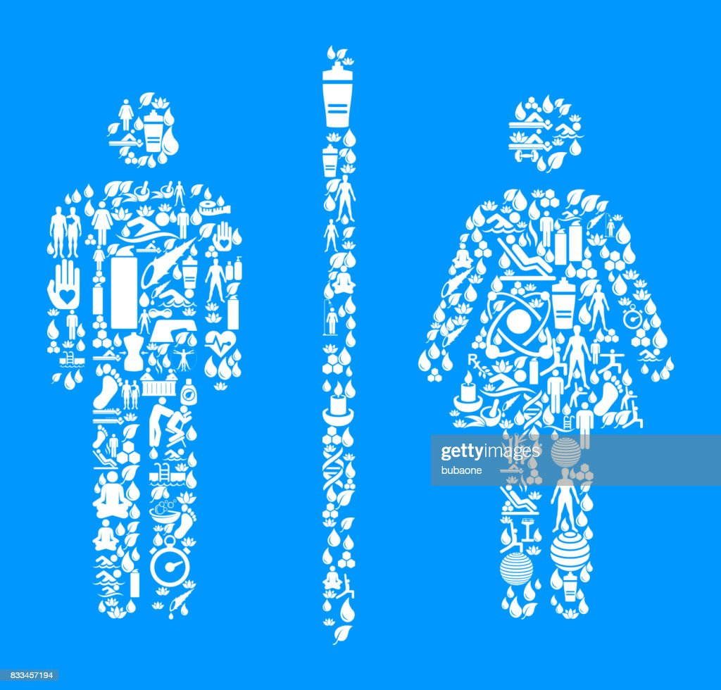 Male And Female Bathroom Sign Health Wellness Icon Set Blue Background Vector Art