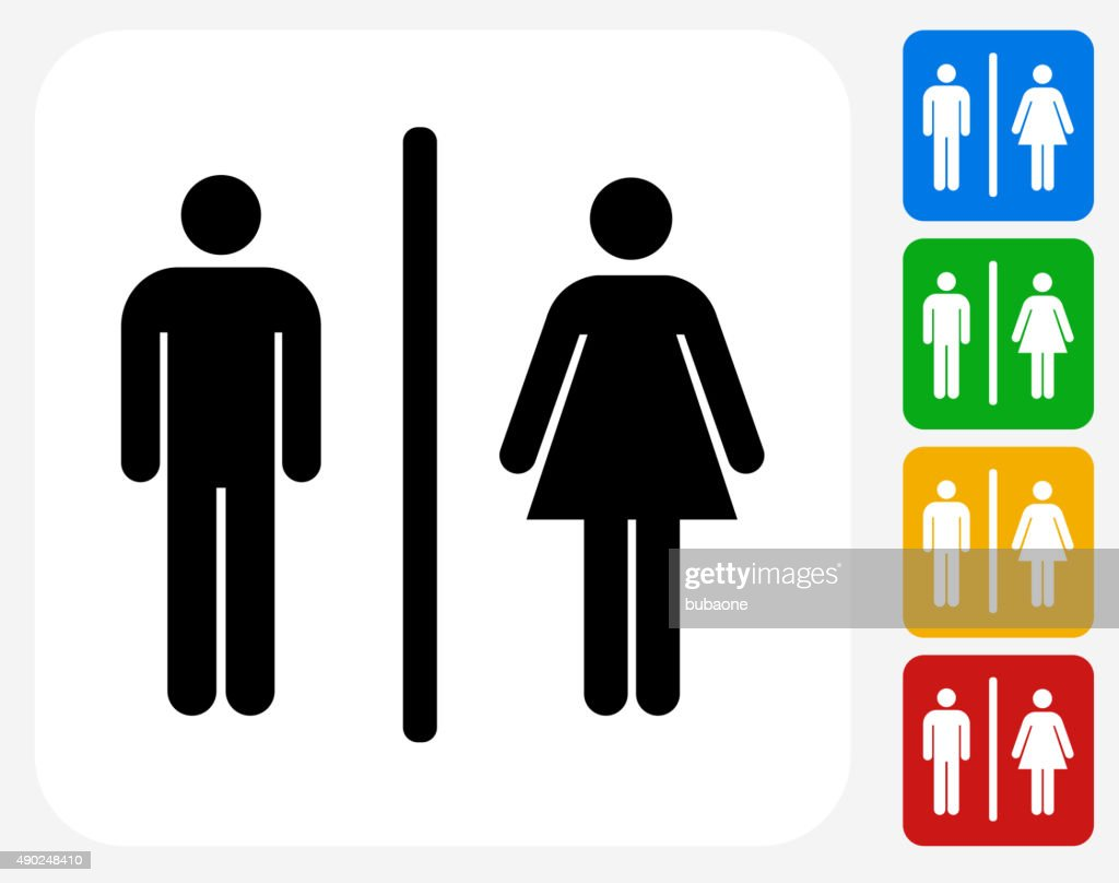 Male And Female Bathroom Sign Icon Flat Graphic Design Vector Art - Male bathroom sign
