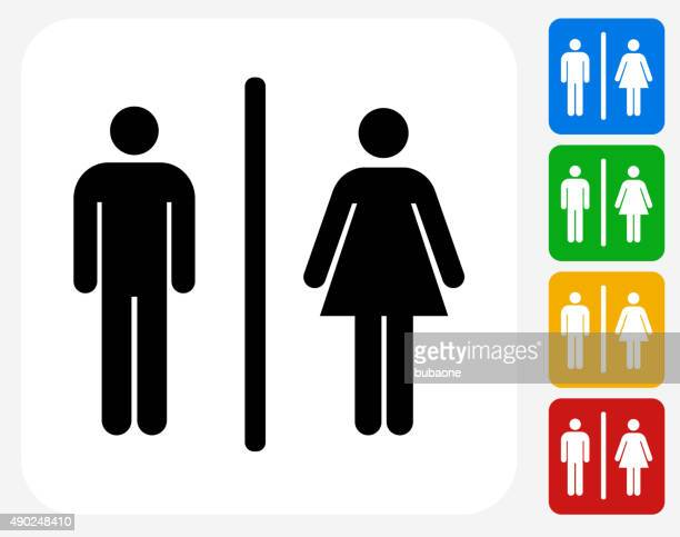 Male and Female Bathroom Sign Icon Flat Graphic Design