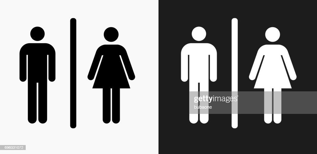Male and Female Bathroom Sign Icon on Black and White Vector Backgrounds : stock illustration