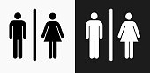 Male and Female Bathroom Sign Icon on Black and White Vector Backgrounds