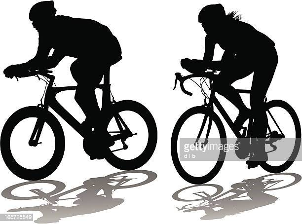 male and female bicycle time trialists - racing bicycle stock illustrations