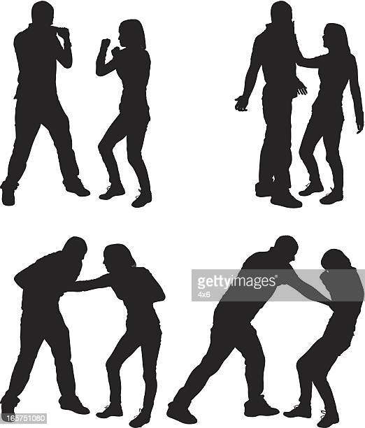 male and female couple fist fighting - slapping stock illustrations, clip art, cartoons, & icons