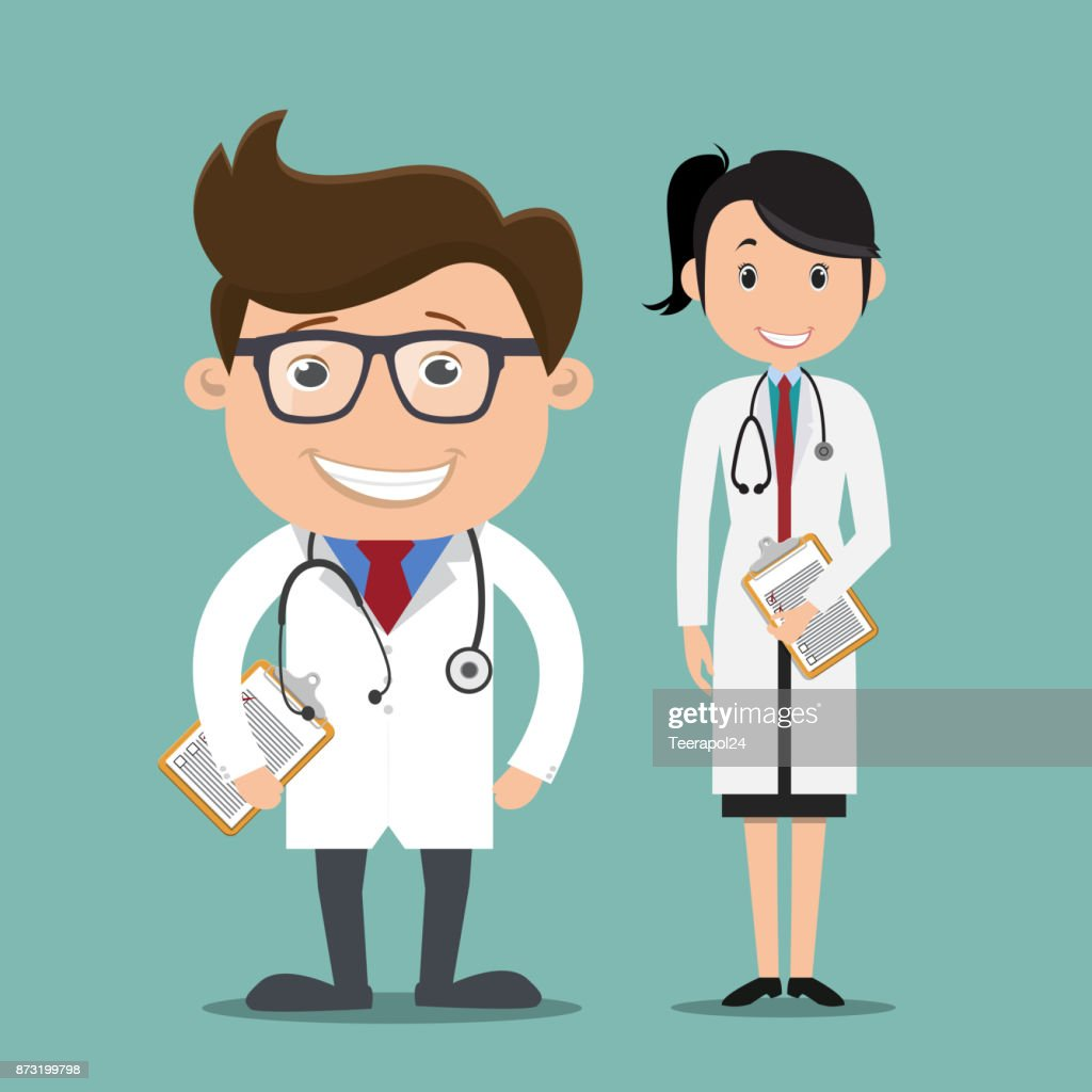 Male and female doctors standing holding clipboard  - vector illustration