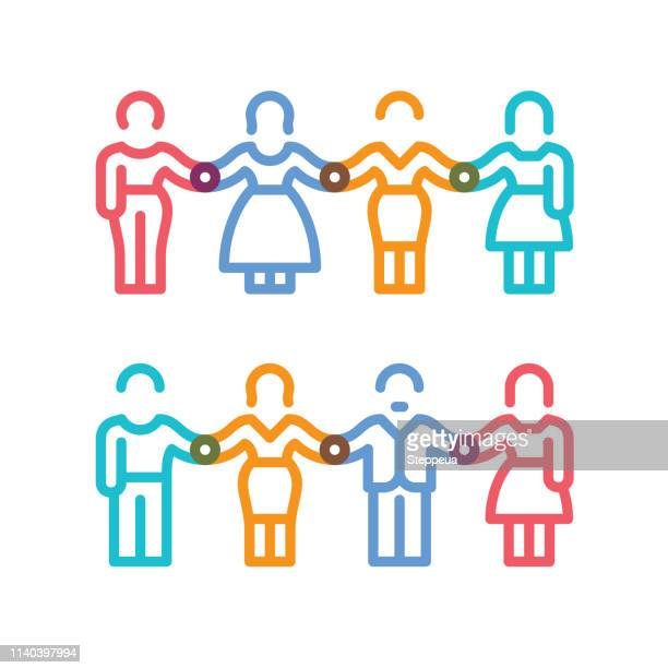 male and female figures holding hands - close to stock illustrations