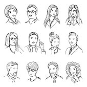 Male and female hand drawn illustrations for pictograms or web avatars. Different business faces with funny emotions. Vector pictures set
