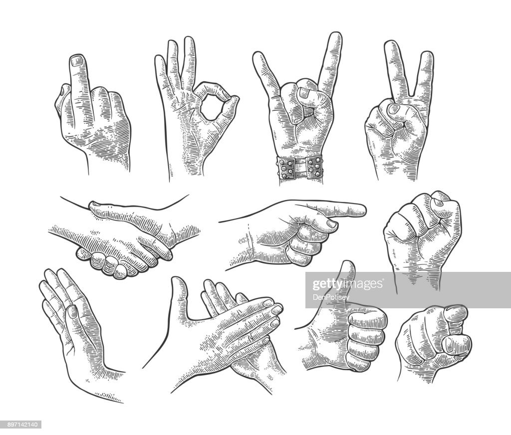 Male and female hand gesture set