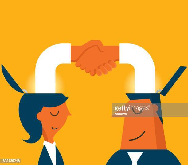 male and female handshake - approval stock illustrations, clip art, cartoons, & icons