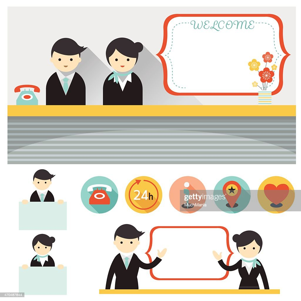 Male and Female Hotel Receptionist Frame and Elements