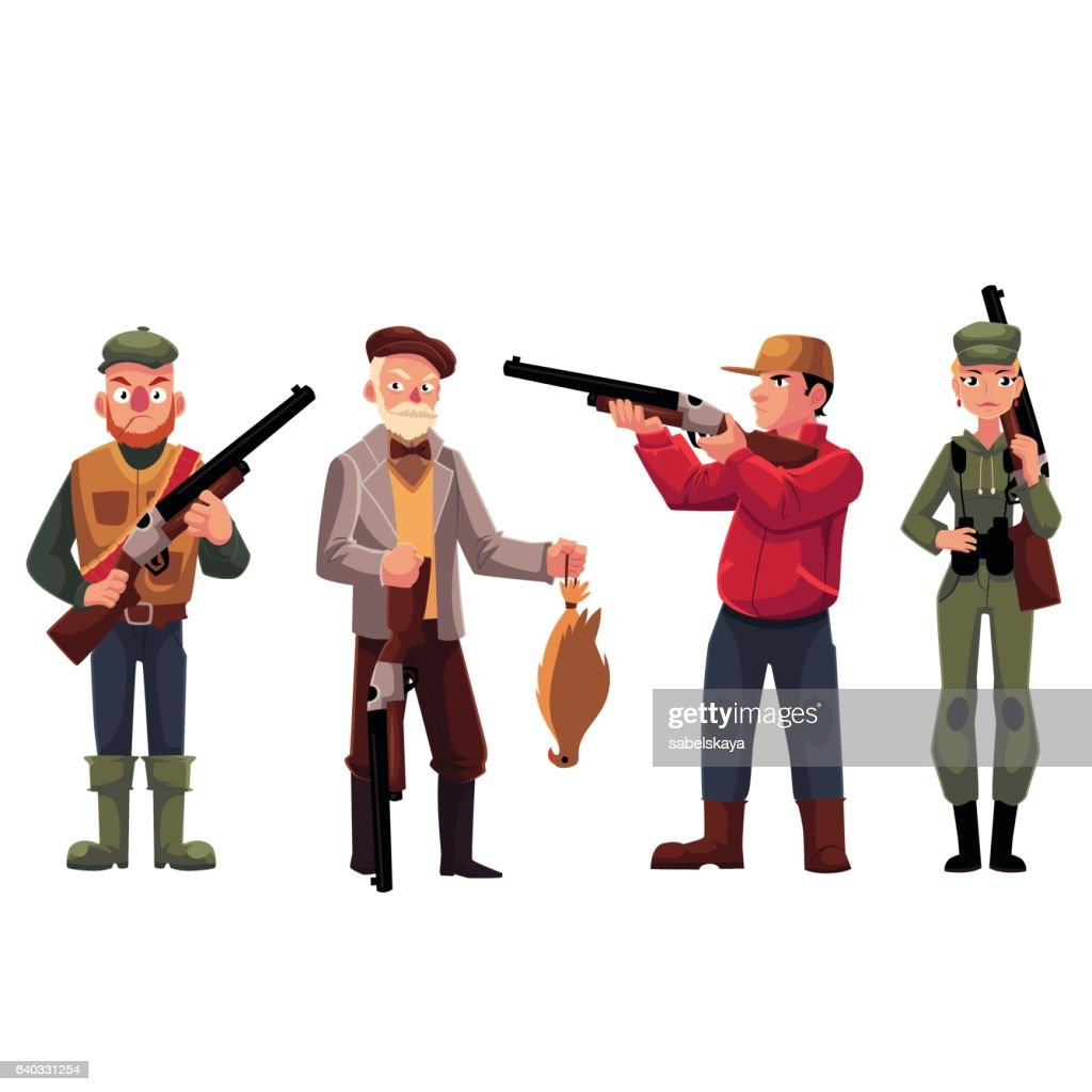 Male and female hunters - old fashioned, modern, military style