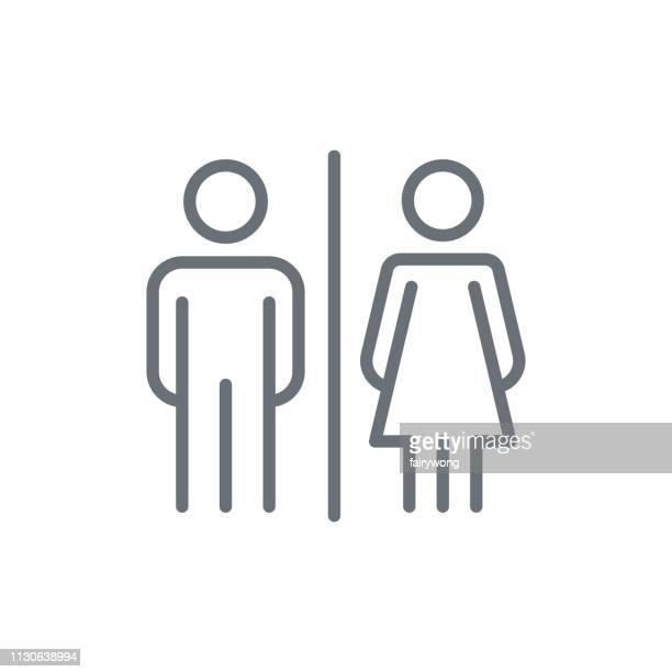 male and female icon - toilet stock illustrations
