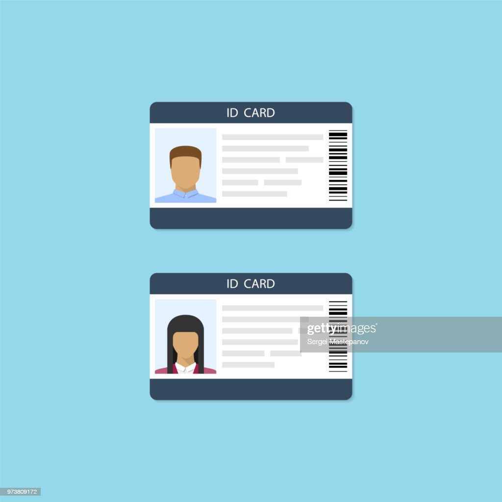 Male and female id card icons. Vector illustration in flat style